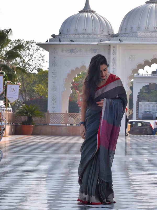 Military Green Linen handwoven saree with temple border