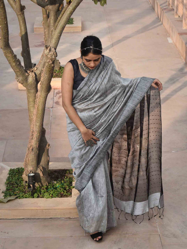 Grey-Black handwoven Eri silk saree with sequin work