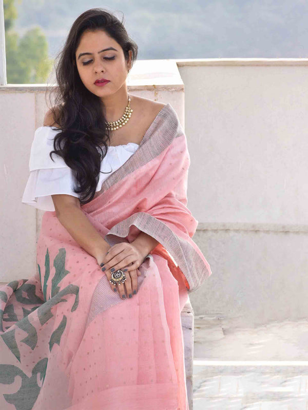 Pink handwoven Eri silk saree with sequin work
