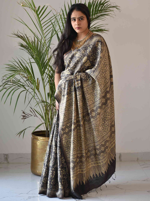 black ajrakh saree