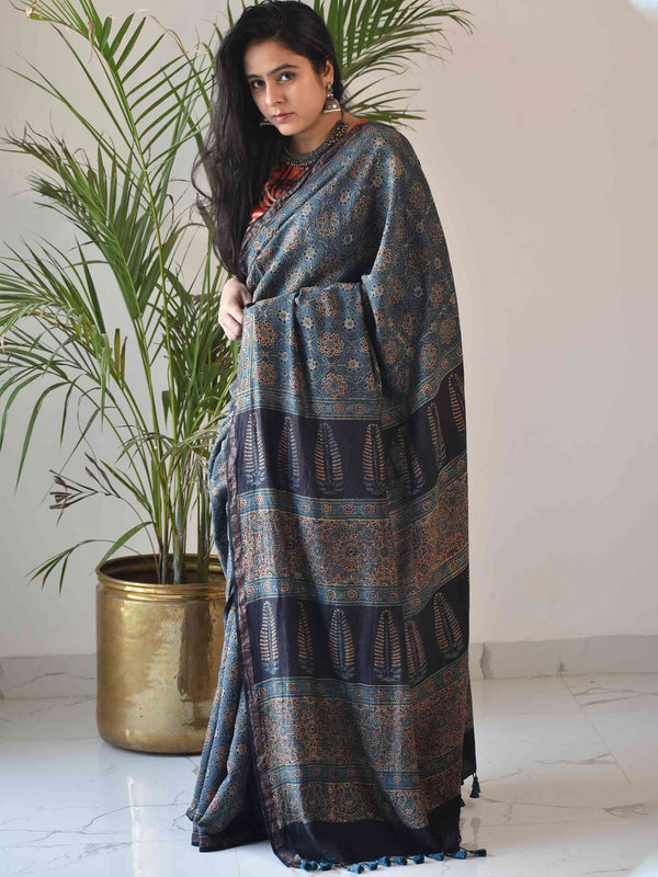 Blue Ivy Ajrakh Handblock Printed Handwoven Eri Silk Saree with Zari border