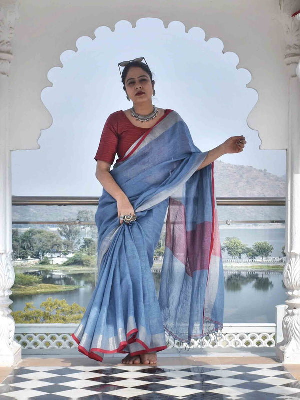 Sky Blue Linen handwoven saree with temple border