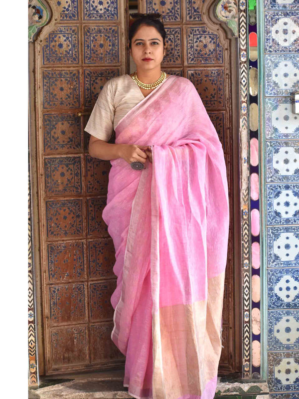 Pink Linen handwoven saree with temple border