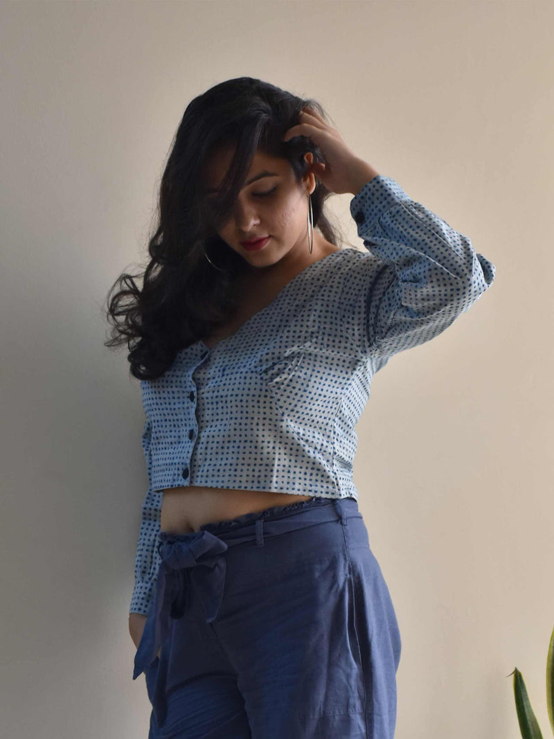 Indigo Dabu hand block printed cotton crop top with full sleeves