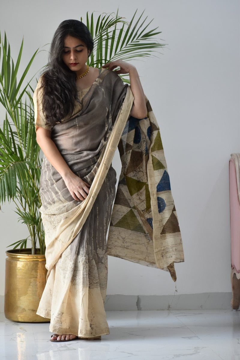 Dabu hand block printed Maheshwari cotton by silk saree