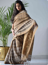 Brown Dabu hand block printed Maheshwari silk saree with Geecha border and pallu