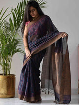 Blue Dabu hand block printed Maheshwari silk saree with geecha border and pallu