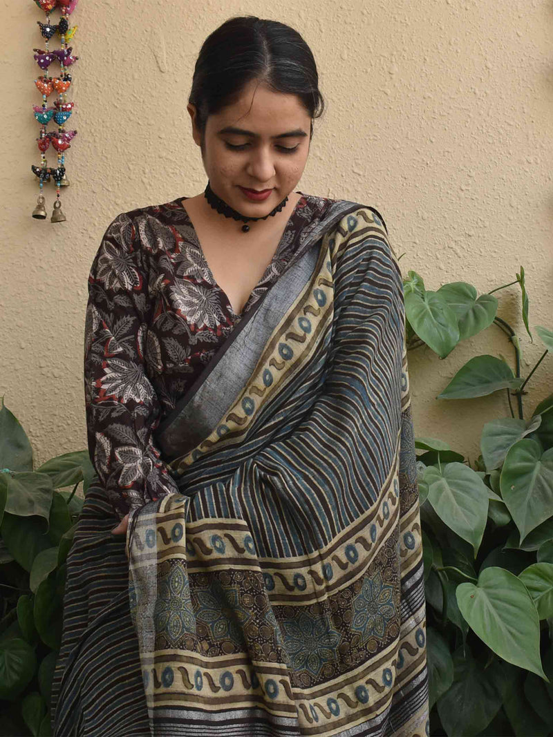 Dabu hand block printed cotton blouse with full sleeves