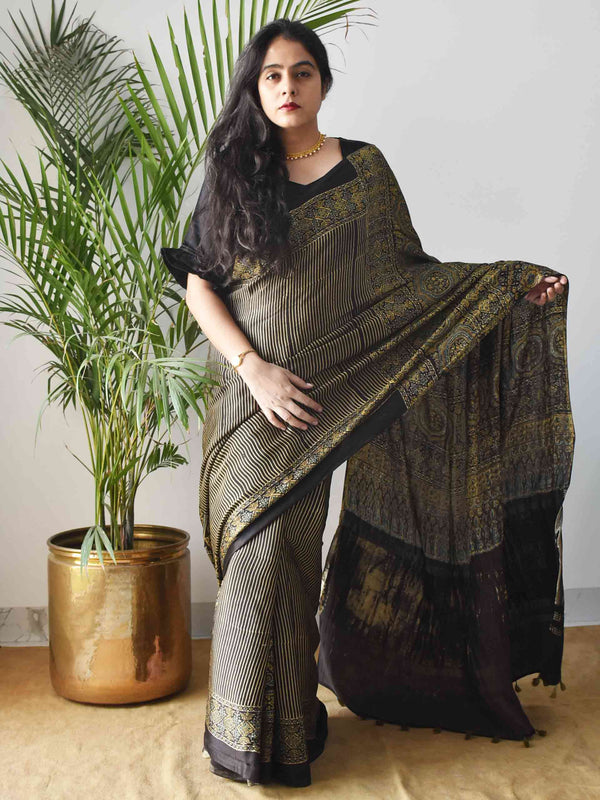 Gold Black stripes Ajrakh Modal silk saree draping pose