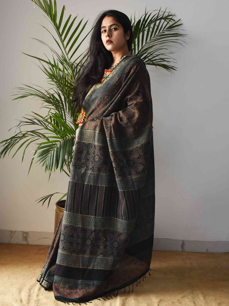 Green Ajrakh Handblock Printed Linen Saree styling poses