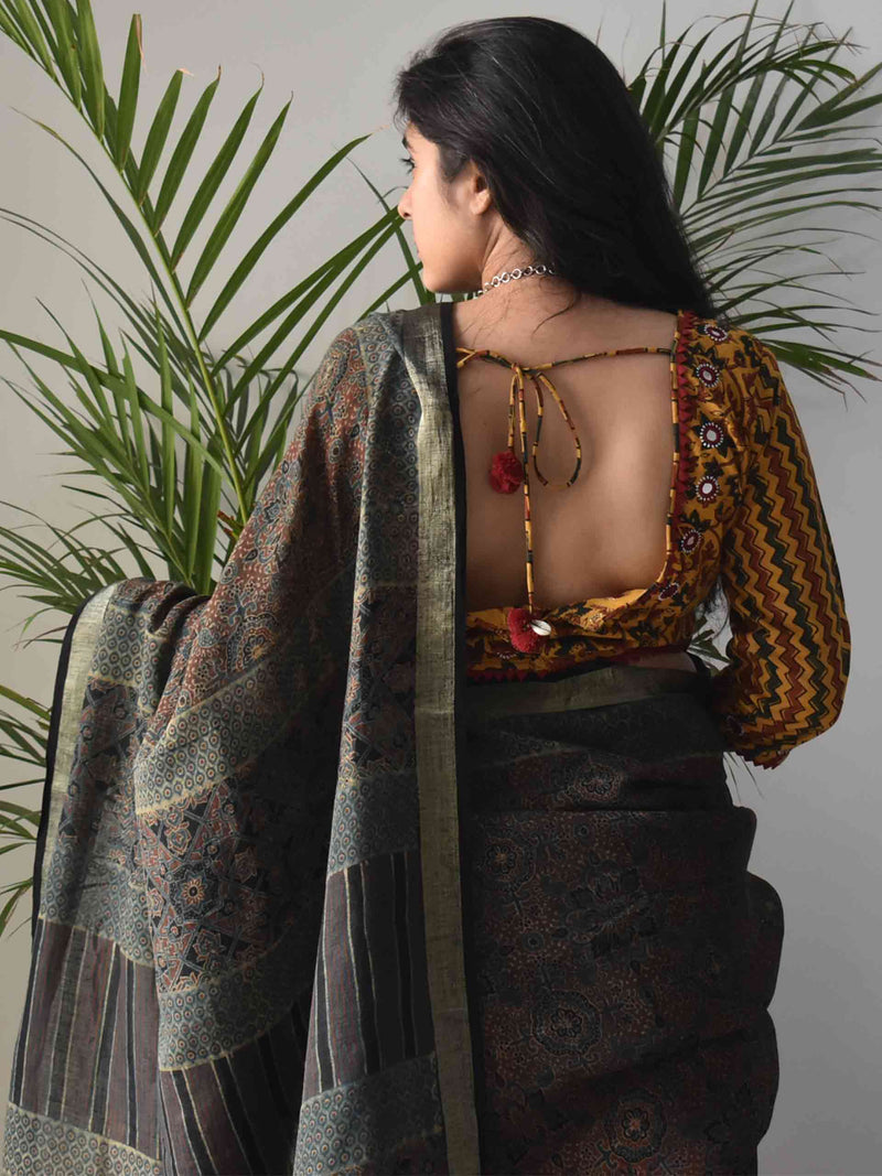 Green Ajrakh Handblock Printed Linen Saree with designer blouse