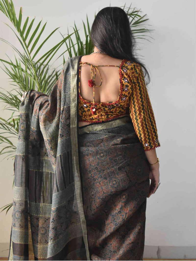 Green Ajrakh Handblock Printed Linen Saree with choli blouse