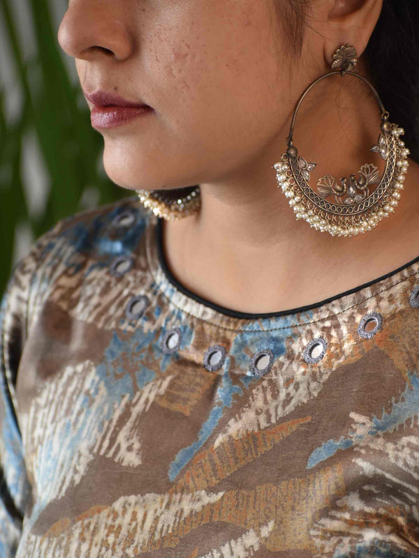 Regal Rage Grey Ajrakh Mashru Silk Blouse