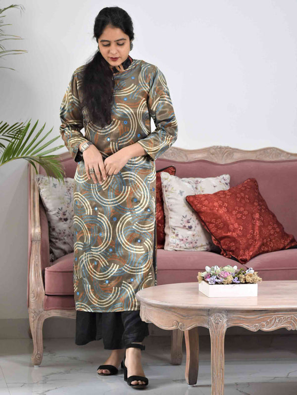 Grey Ajrakh Mashru Silk Kurti Dress