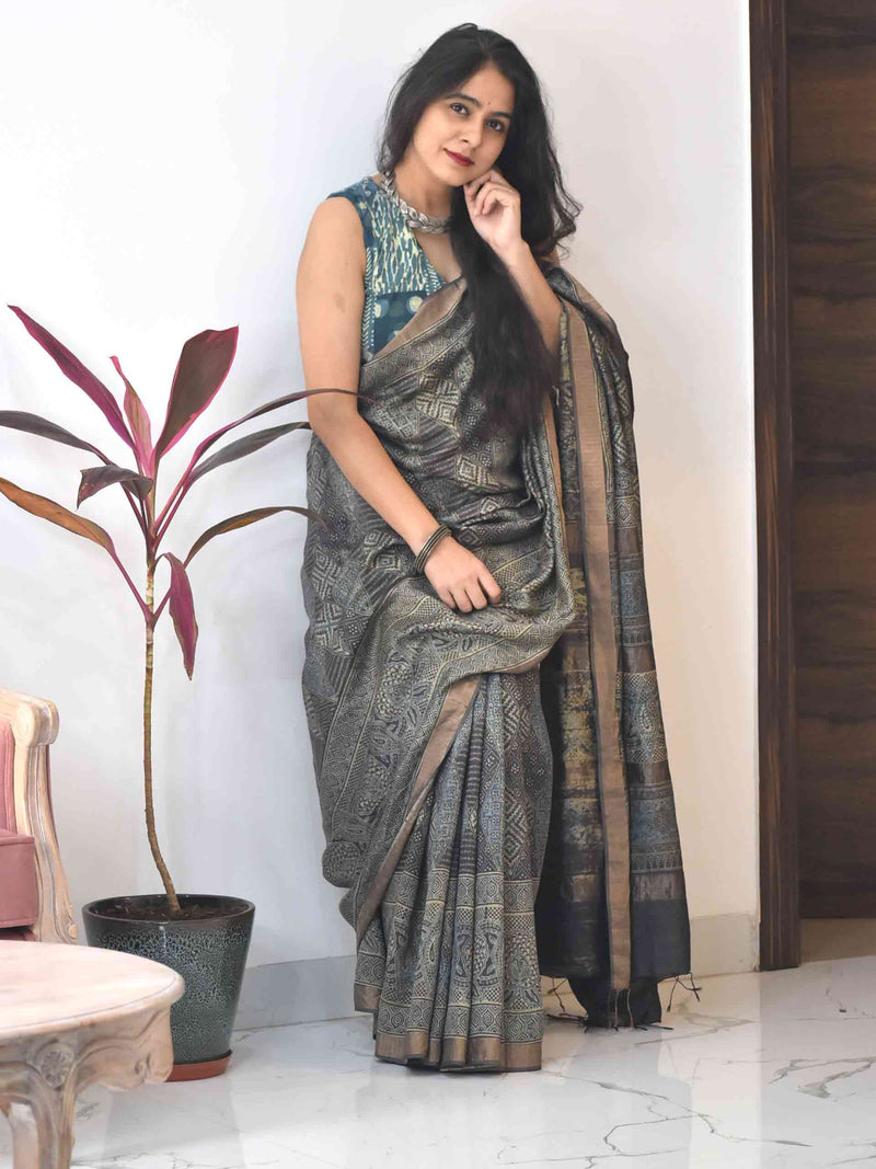 Buy Grey Ajrakh Eri silk saree