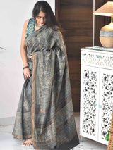 Buy Grey Ajrakh handloom Eri silk saree online