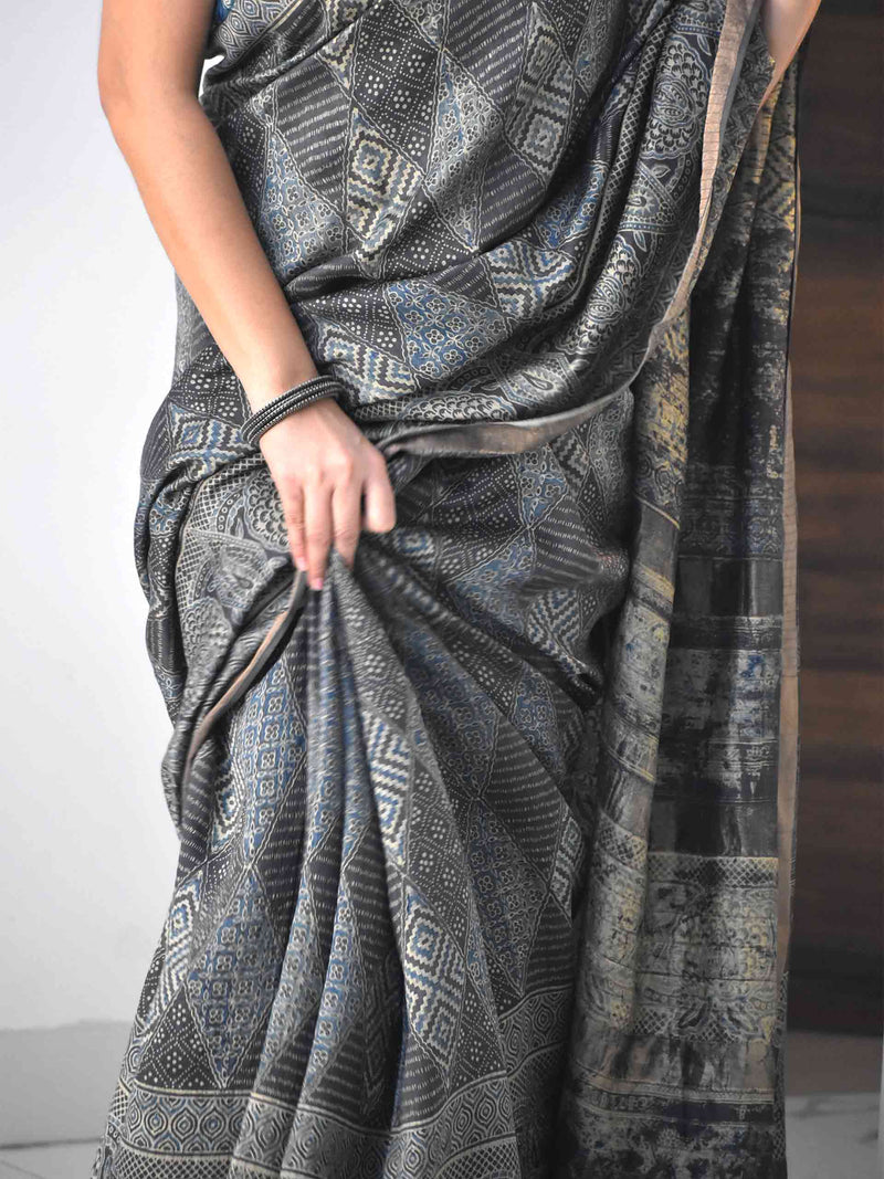 Grey Ajrakh Eri silk saree