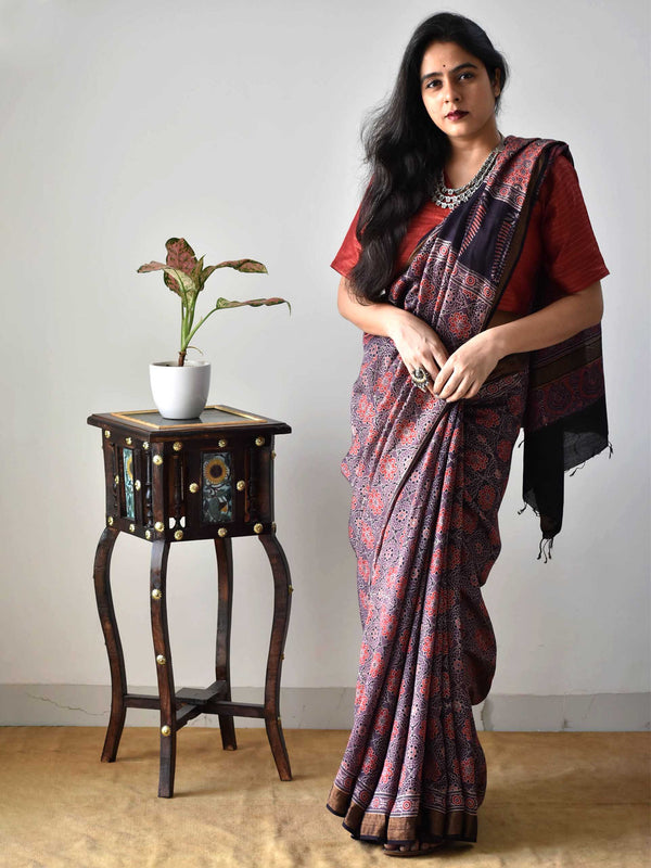 Brown Ajrakh hand block printed handwoven Modal silk saree with zari border