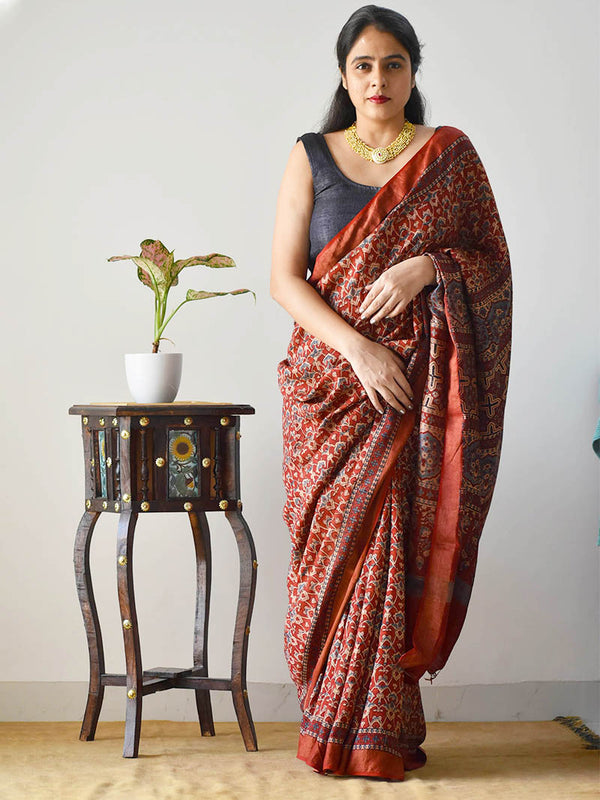 Red Ajrakh hand block printed handwoven Modal silk saree with zari border