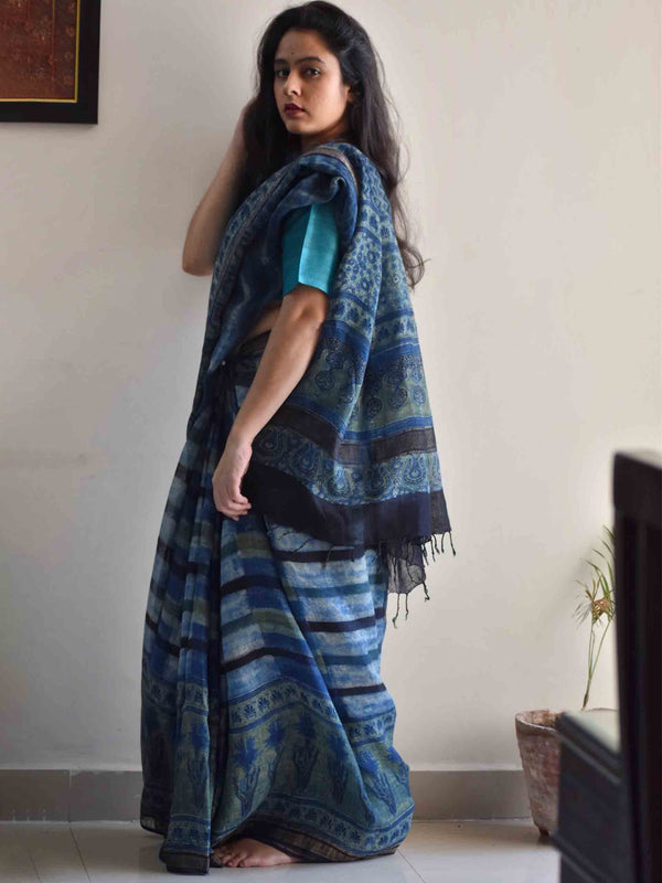 Hues of Blue Ajrakh Handblock Printed Linen Saree draping