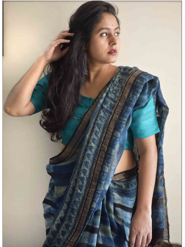Hues of Blue Ajrakh Handblock Printed Linen Saree