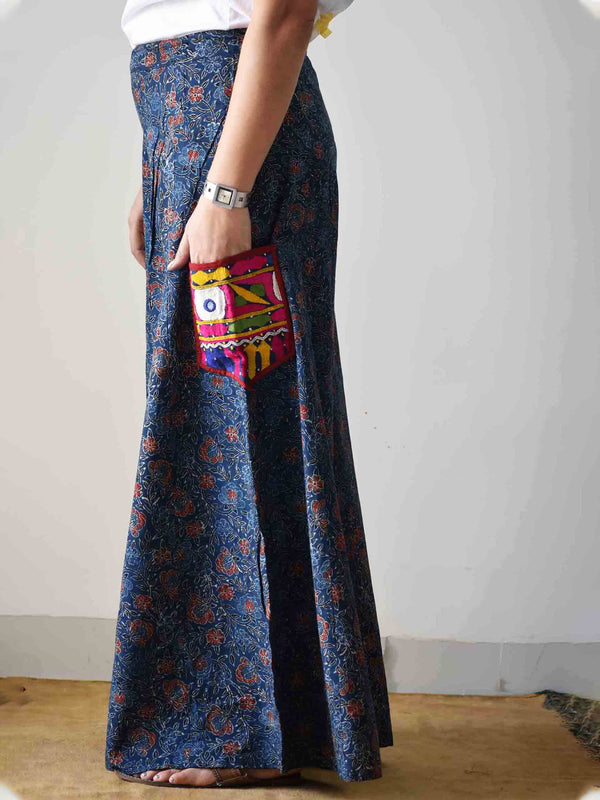 Indigo Ajrakh hand block printed kutch embroidered flared Palazzo Cotton Pants