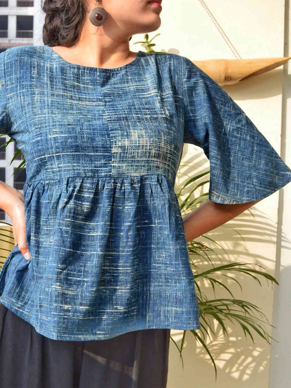 Indigo Ajrakh brush stroke cotton long top