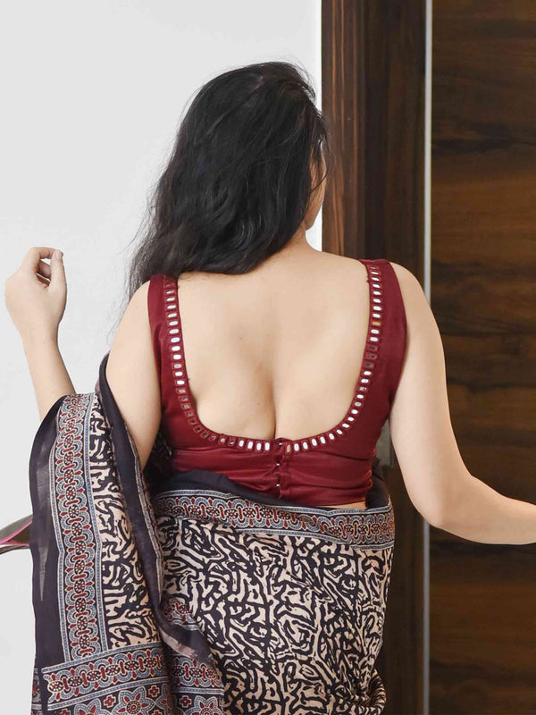 Raaz - Maroon Hand Embroidered Mashru Silk Padded Blouse