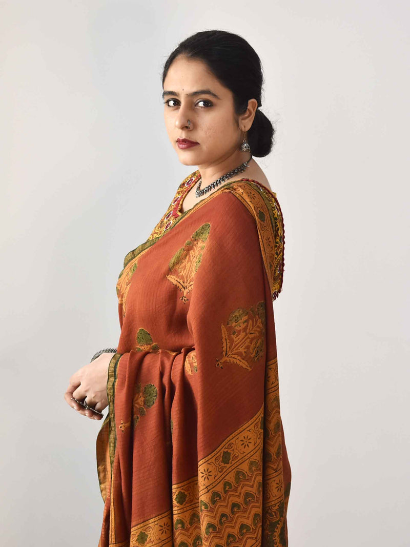 Orange Ajrakh Eri silk saree