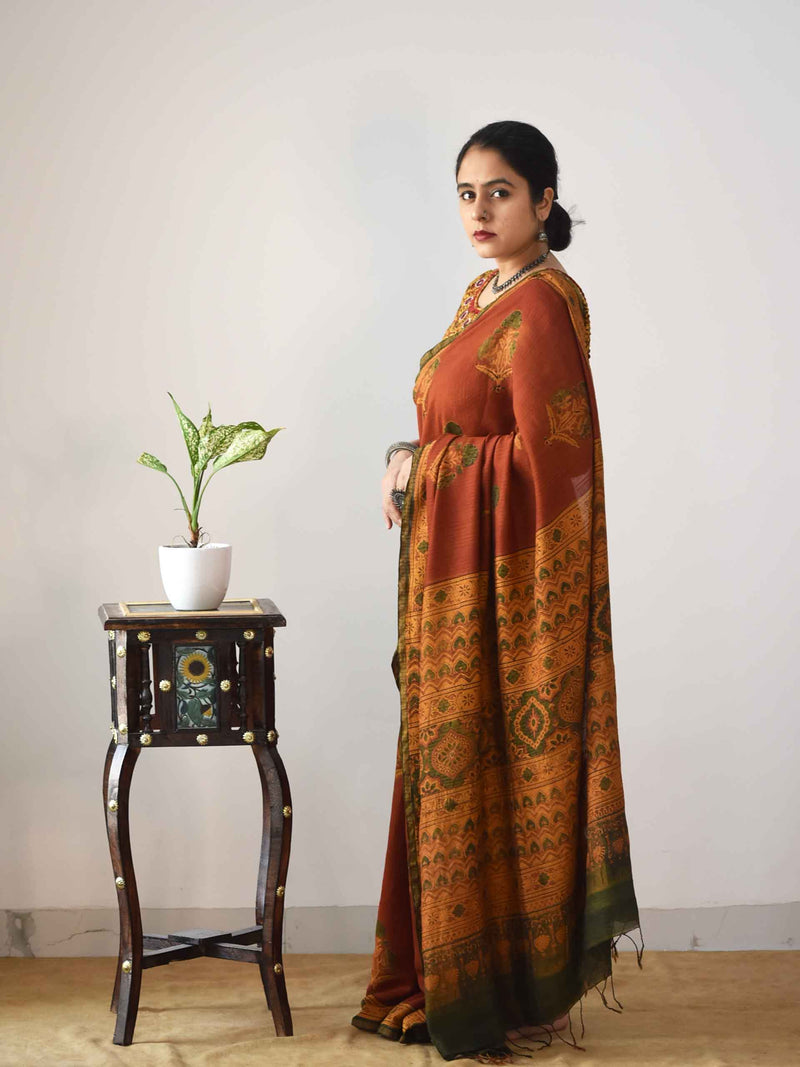 Orange Ajrakh Handloom Eri silk saree