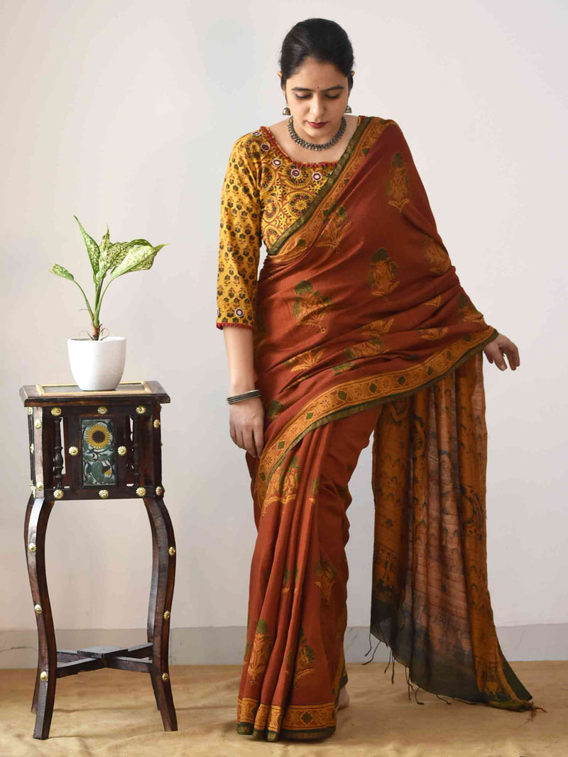 Buy Orange Ajrakh Eri silk saree online