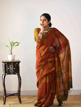 Buy Orange Ajrakh Handloom Eri silk saree