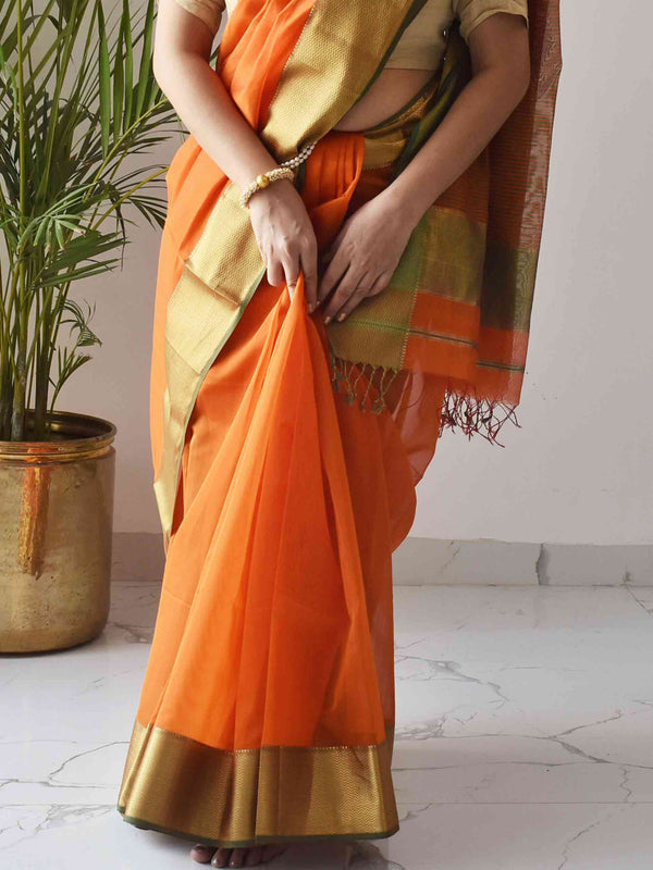 Orange Maheshwari Silk Saree with Zari Pallu and Border