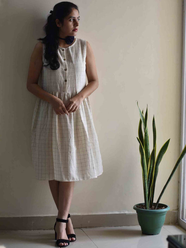Checkered Organic cotton cream flared dress
