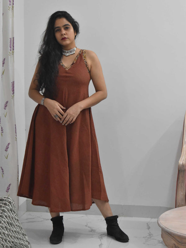 Maroon Organic cotton long dress