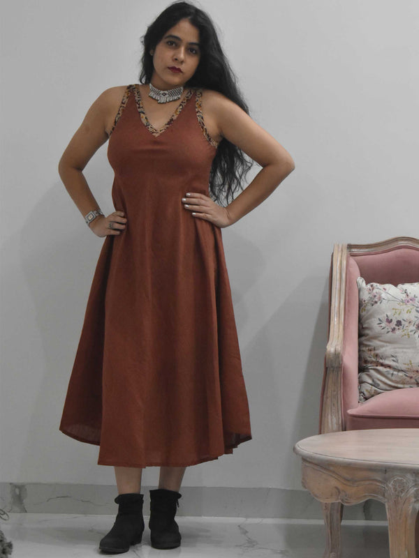 Maroon Organic cotton long dress pose