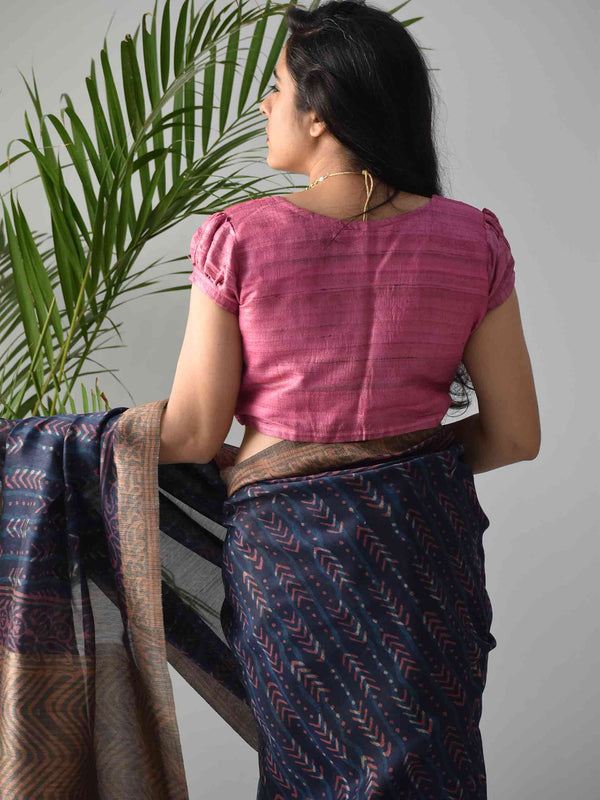 Pink Handwoven Tussar silk blouse