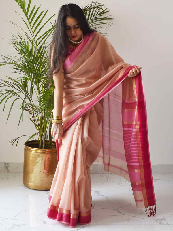 Pink slush Maheshwari Silk Saree with Zari Pallu and Border draping