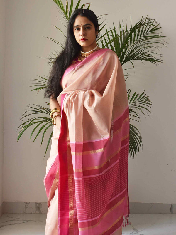 Pink slush Maheshwari Silk Saree with Zari Pallu and Border