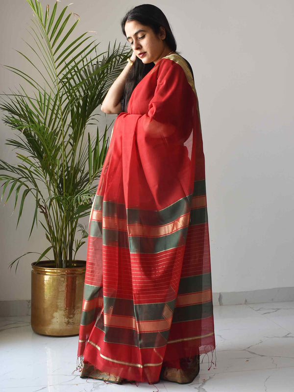 Red-Green Maheshwari Silk Saree with Zari Pallu and Border