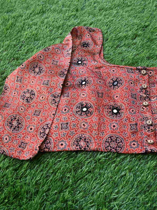 Red Floral Ajrakh Mashru Silk Blouse