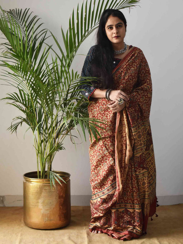 Red Ajrakh Handblock Printed Handwoven Eri Silk Saree with Zari border