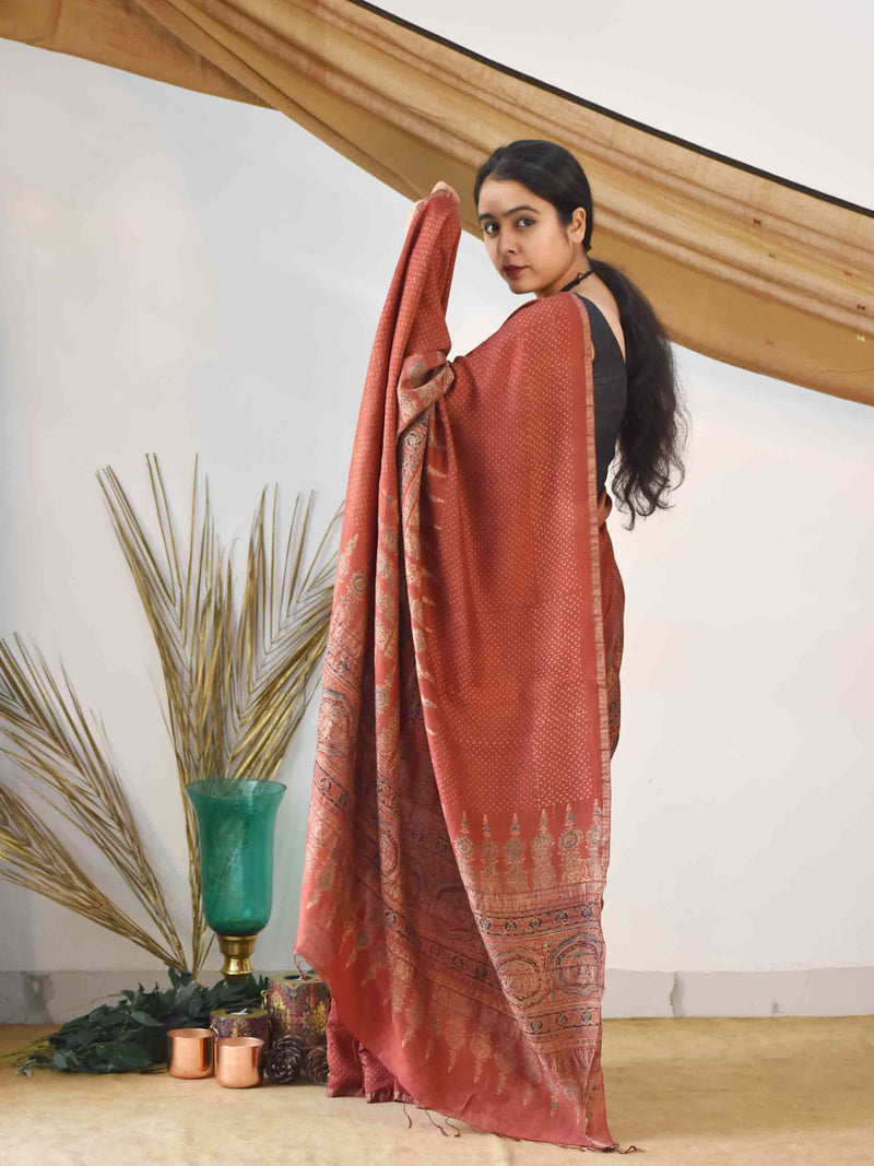 Red Ajrakh Handloom Eri silk saree