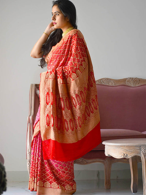 Red Pink Bandhani Banarasi Nimzari work Georgette saree poses