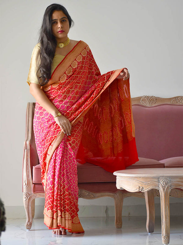 Red Pink Bandhani Banarasi Nimzari work Georgette saree