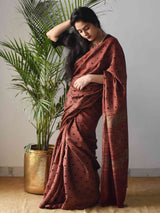 Red Star Ajrakh Handblock Printed Handwoven Eri Silk Saree draping draping photo