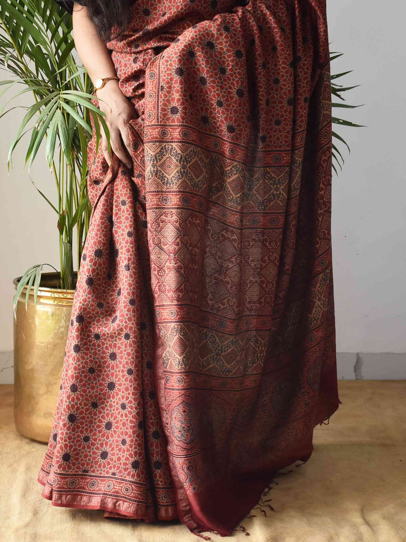 Red Star Ajrakh Handblock Printed Handwoven Eri Silk Saree with Zari border draping