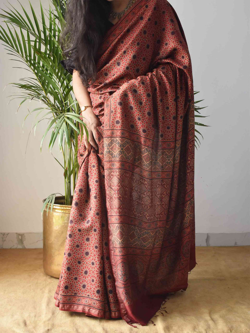 Red Star Ajrakh Handblock Printed Handwoven Eri Silk Saree with Zari border
