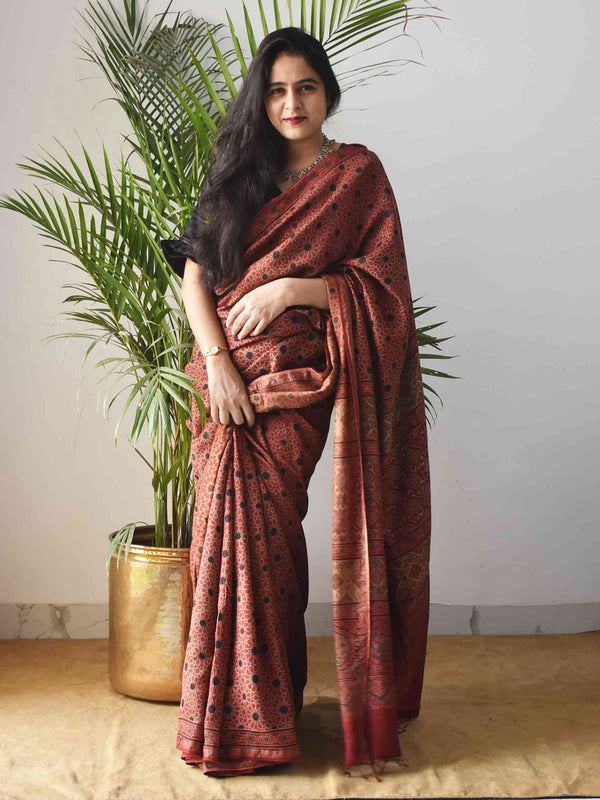 Red Star Ajrakh Handblock Printed Handwoven Eri Silk Saree draping