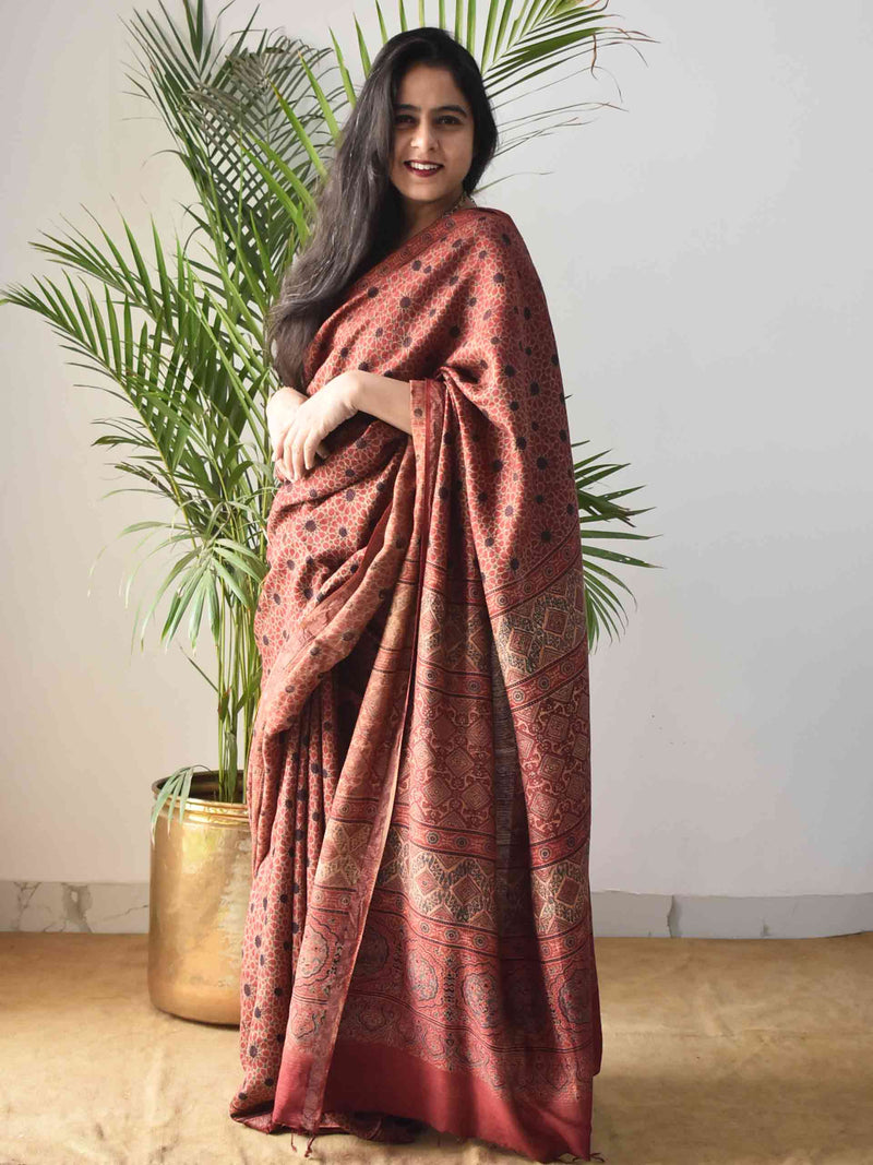 Red Star Ajrakh Handblock Printed Handwoven Eri Silk Saree draping poses